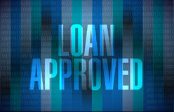 Loan approved binary sign concept Stock Images