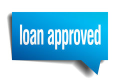 Loan approved blue paper speech bubble Royalty Free Stock Image