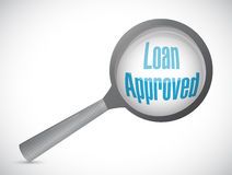 Loan approved magnify review sign concept Royalty Free Stock Image
