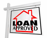 Loan Approved Mortgage Home for Sale Sign. 3d Illustration Stock Photos