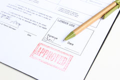 Loan approved stamp Stock Photos