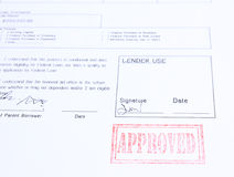 Loan approved stamp. On white document Stock Image