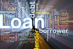 Loan background concept glowing. Background concept wordcloud illustration of loan glowing light Royalty Free Stock Photo