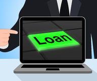 Loan Button Displays Lending Or Providing Advance. Loan Button Displaying Lending Or Providing Advance Stock Photo