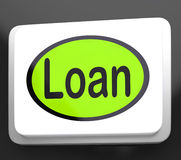 Loan Button Means Lending Or Providing Advance. Loan Button Meaning Lending Or Providing Advance Royalty Free Stock Photo