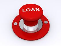 Loan button. Red button with text 'loan' inscribed in uppercase white letters on the top of the press button, white background Royalty Free Stock Images