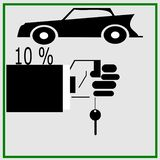 Car with a discount of 10 percent. stock illustration