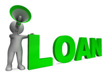 Loan Character Shows Bank Loans Mortgage Royalty Free Stock Photography