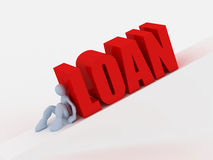 Loan concept. A 3d image of man trying to push loan text Stock Image