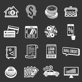 Loan credit icons set grey vector. Loan credit icons set vector white isolated on grey background Royalty Free Stock Photos