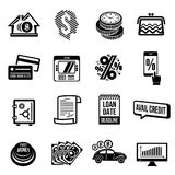 Loan credit icons set, simple style. Loan credit icons set. Simple illustration of 16 loan credit vector icons for web Royalty Free Stock Photography