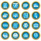 Loan credit icons set, simple style. Loan credit icons set. Simple illustration of 16 loan credit vector icons for web Royalty Free Stock Photo