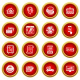 Loan credit icons set, simple style. Loan credit icons set. Simple illustration of 16 loan credit vector icons for web stock illustration