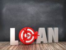 LOAN 3D Word with Target on Chalkboard Background. High Quality 3D Rendering vector illustration
