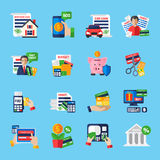 Loan Debt Flat Color Icons Set. Of fast credit proposal budget scheduling mortgage loan  payment terminal and scissors cutting credit card isolated vector Royalty Free Stock Photos