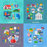 Loan and debt flat set. Loan and debt financial concept flat set isolated vector illustration Stock Photo