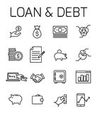 Loan and debt related vector icon set. Well-crafted sign in thin line style with editable stroke. Vector symbols isolated on a white background. Simple Royalty Free Stock Photo