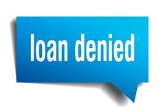 Loan denied blue 3d speech bubble. Loan denied blue 3d square isolated speech bubble stock illustration
