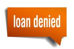 Loan denied orange 3d speech bubble. Loan denied orange 3d square isolated speech bubble vector illustration
