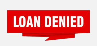 Loan denied. Sign.  paper origami speech bubble.  tag.  banner royalty free illustration
