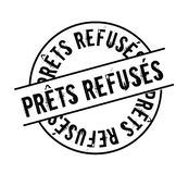 Loan denied stamp in french. Loan denied black stamp in french language. Sign, label, sticker stock illustration