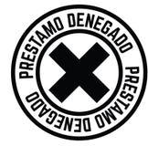 Loan denied stamp in spanish. Loan denied black stamp in spanish language. Sign, label, sticker royalty free illustration