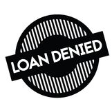 Loan denied stamp on white. Loan denied black stamp on white background. Sign, label, sticker royalty free illustration