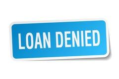 Loan denied sticker on white. Loan denied square sticker on white royalty free illustration
