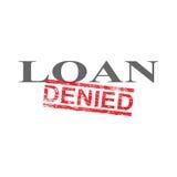 Loan Denied Word Stamp. Denied grungy red rubber stamp over loan word illustration stock illustration