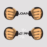 Loan fetters. Hands put in fists is handcuffed. Word loan instead of chain of handcuffs. Hands had broken a chain of handcuffs. Bank credit, loan and debt Stock Photo