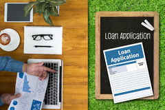 Loan Financial Application Form Filling the form of business cre Stock Images