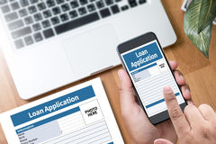 Loan Financial Application Form Filling the form of business credit application royalty free stock images