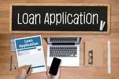 Loan Financial Application Form Filling the form of business cre Stock Photos