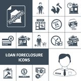 Loan Foreclosure Icons Black. Loan foreclosure debt property sale icons black set isolated vector illustration Royalty Free Stock Images