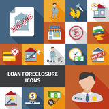 Loan Foreclosure Icons. Loan foreclosure and debt crisis icon set isolated vector illustration Royalty Free Stock Photos