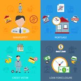Loan Foreclosure Icons Set Stock Photography
