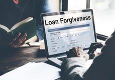 Loan Forgiveness Debt Filling Application Concept. Business People Body Parts Loan Forgiveness Debt Filling Application stock images