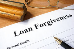 Loan forgiveness form. Royalty Free Stock Photography