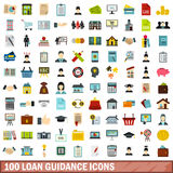 100 loan guidance icons set, flat style. 100 loan guidance icons set in flat style for any design vector illustration royalty free illustration
