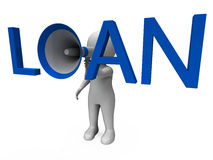 Loan Hailer Shows Bank Loans Credit Or Loaning Stock Photos