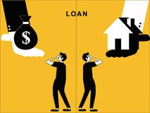 Loan and Home offering to Man vector illustration