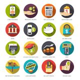 Loan Icons Set. Loan flat icons set with check balance personal income tax calculator isolated vector illustration Royalty Free Stock Photos