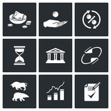 Loan icons. Vector Illustration. Vector Isolated Flat Icons collection on a black background for design Stock Photos