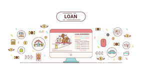 Loan Infographics design concept. Loan agreement between creditor and debtor. Vector illustration. Royalty Free Stock Photography