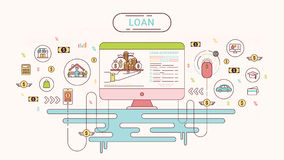 Loan Infographics design concept. Loan agreement between creditor and debtor. Vector illustration. Loan Infographics. Loan agreement between the lender and the Royalty Free Stock Photo