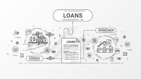 Loan Infographics. Loan agreement between the lender and the borrower. Flat line icons design contains creditor, and debtor. Loan Infographics. Loan agreement Stock Photo