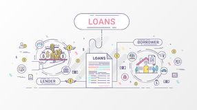Loan Infographics. Loan agreement between the lender and the borrower. Flat line icons design contains creditor, and debtor. Loan Infographics. Loan agreement Stock Images