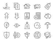 Loan and interest icon set. Included the icons as fees, personal income, house mortgage loan, car leasing, flat rate interest, ins Stock Photography