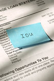 Loan IOU 2. With the current economic situation, many are defaulting on loans. Closeup of loan statement and IOU note stock image