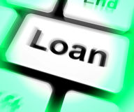 Loan Keyboard Means Lending Or Providing Advance Stock Photography
